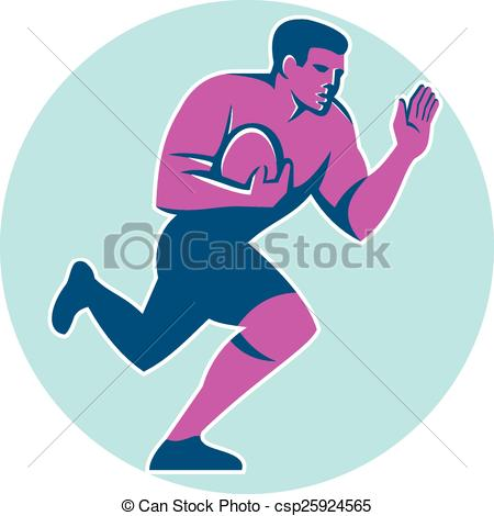 Clip Art Vector of Rugby Player Fend Off Circle Retro.