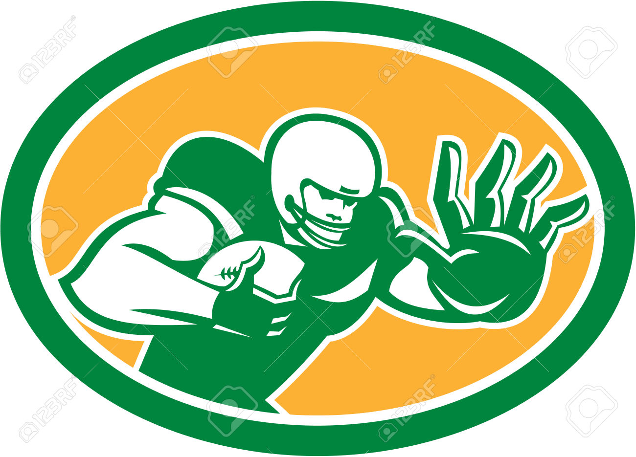 Illustration Of An American Football Gridiron Player Holding.