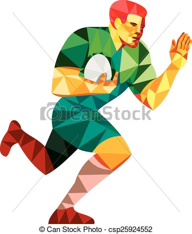Clipart Vector of Rugby Player Fend Off Low Polygon.