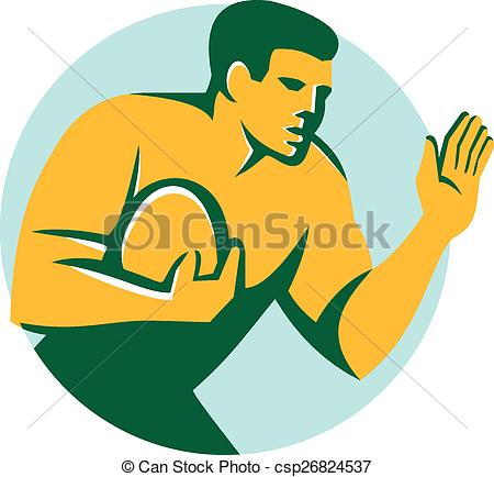 Vectors of Rugby Player Fend Off Circle Retro.