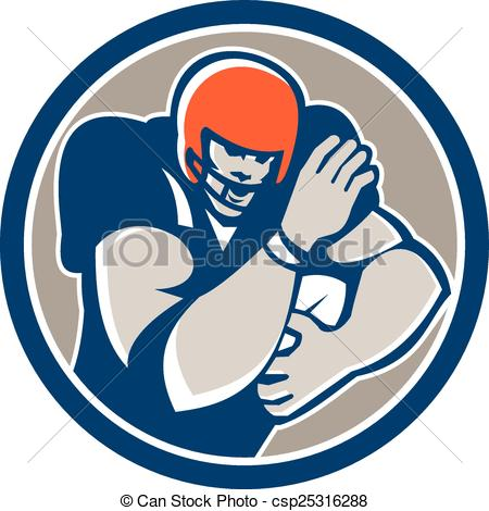 Vector of American Football Player Fend Off Circle Retro.