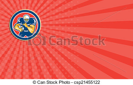 Clip Art of Business card American Football Player Fend Off Circle.