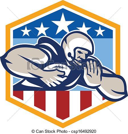 Vector Illustration of American Football Running Back Fend.
