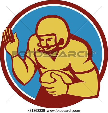 Clipart of American Football Player Fend Off Circle Retro.