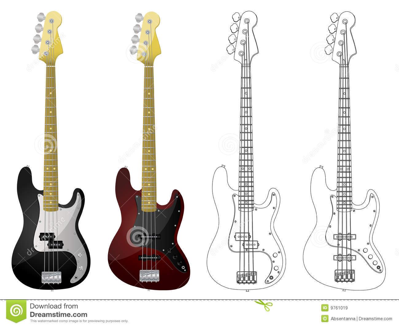 Fender bass guitar clipart.