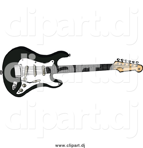 Cartoon Vector Clipart of a Black Electric Fender Stratocaster.