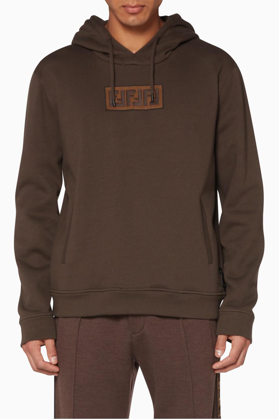 Shop Fendi Brown Rectangular Logo Hoodie for Men.