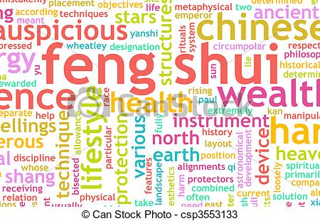 Drawings of Feng Shui Traditional Chinese Science As Concept.