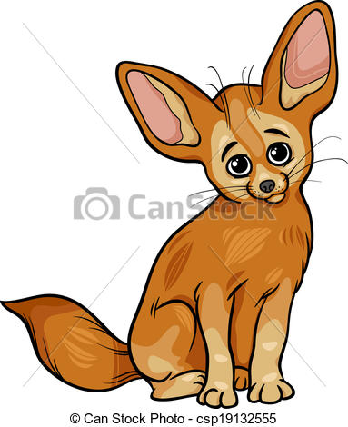 Clipart Vector of fennec fox animal cartoon illustration.