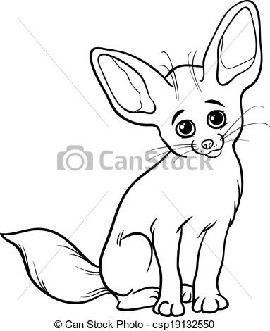 Clipart Vector of fennec fox animal coloring page.