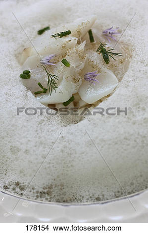 Stock Photo of Thinly sliced scallops with fennel and citrus fruit.