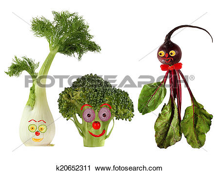 Clipart of Funny portraits made ??from beet , fennel and broccoli.