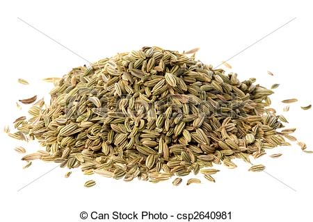 Stock Photography of Fennel Seeds Macro Isolated.
