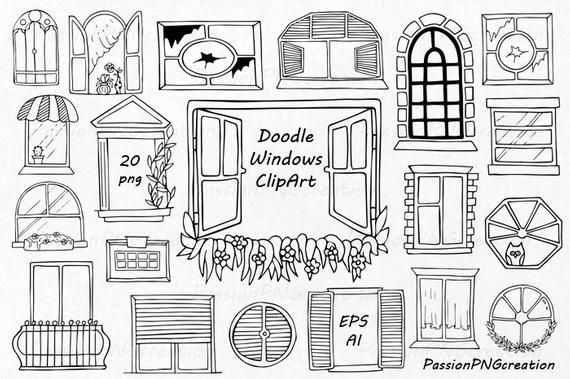 Doodle Fenster Clipart, handgezeichnete Fenster, digitale.