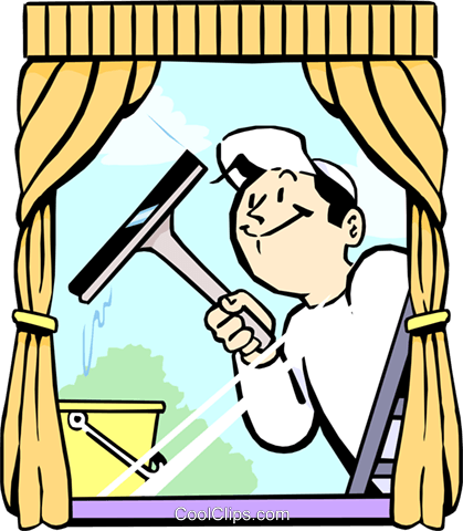 Fensterputzer Vektor Clipart Bild.
