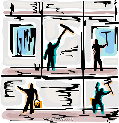 Window Cleaning Royalty Free Vector Clip Art illustration.