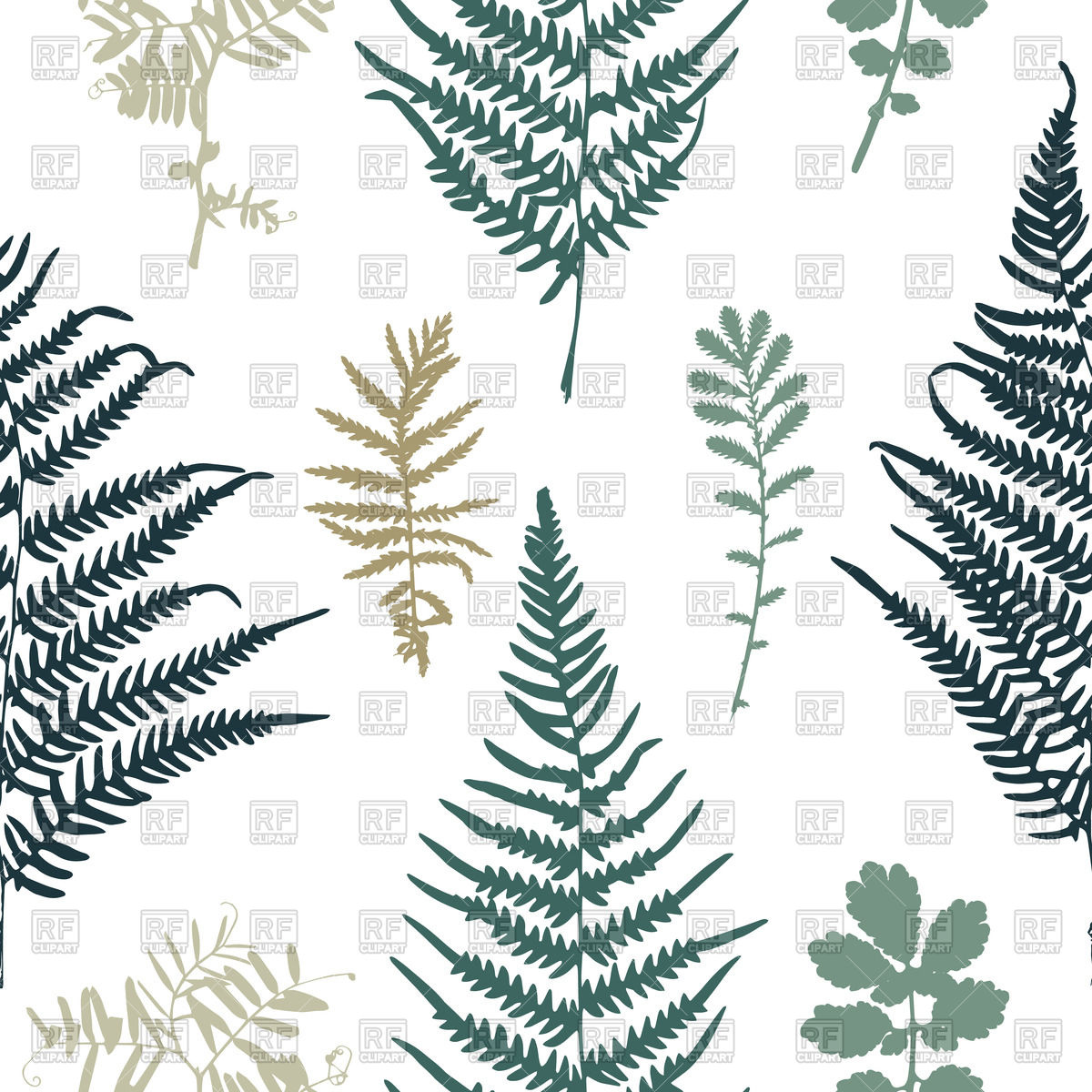 Seamless pattern with leaves of fern Vector Image #70996.