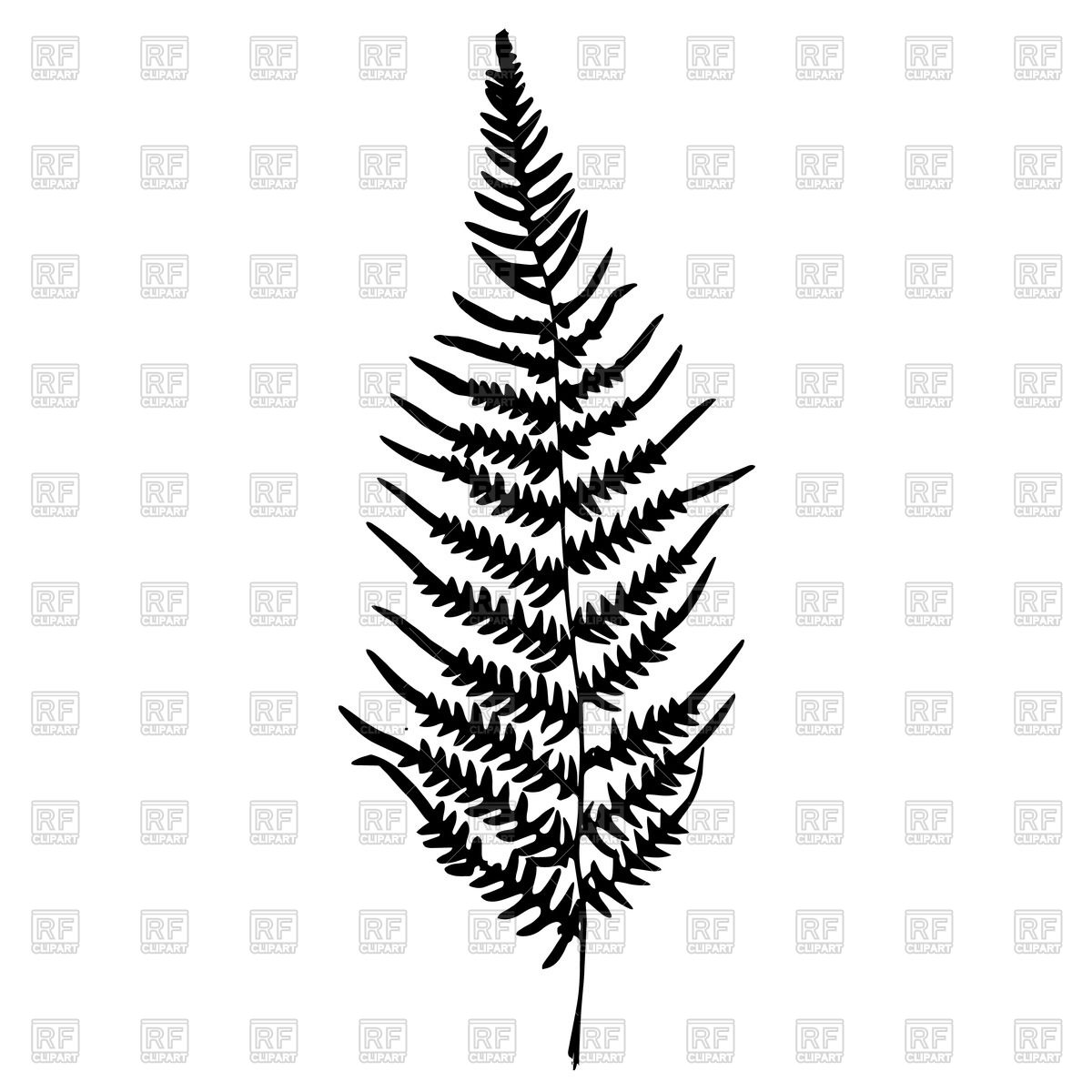 Silhouette of leaf fern Vector Image #44373.