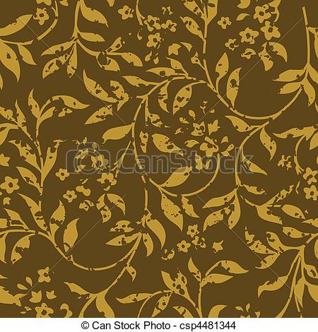 EPS Vector of Vector Distressed Brown Fern Pattern.