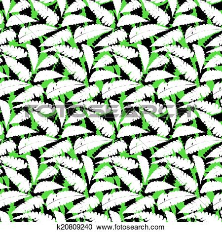 Clipart of Grunge autumn pattern with fern leafs k20809240.
