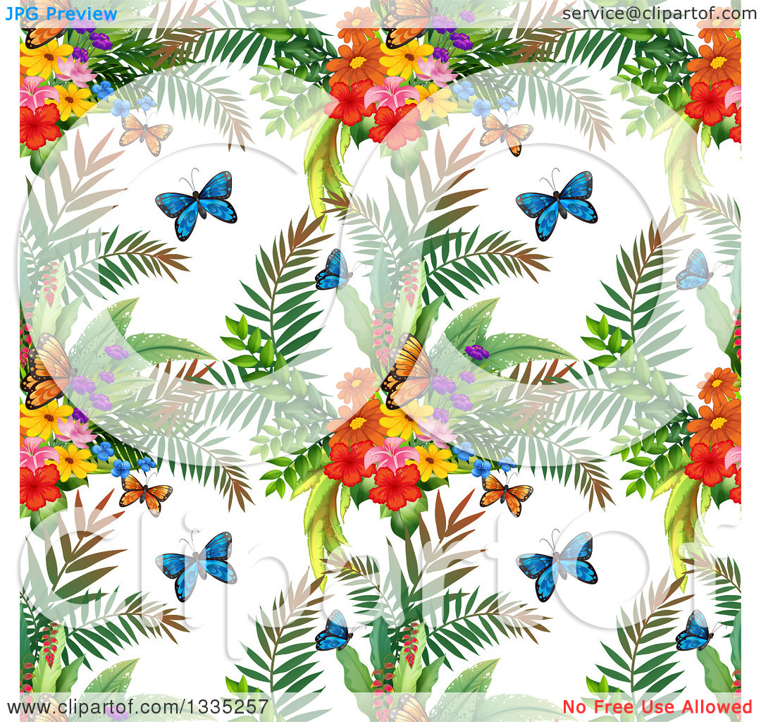 Clipart of a Seamless Background Pattern of Butterflies, Ferns and.