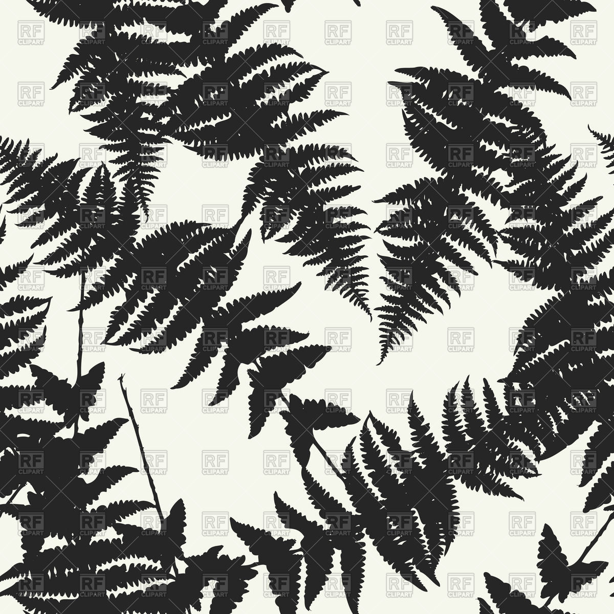 Seamless pattern of fern leaves Vector Image #71551.