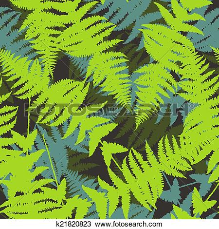 Clipart of Seamless pattern of fern leaves. Vector illustration.