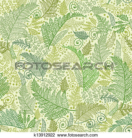 Clipart of Green Fern Leaves Seamless Pattern Background k13912922.