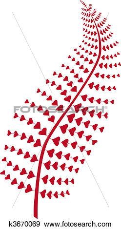 Clip Art of heart fern leaf, vector k3670069.