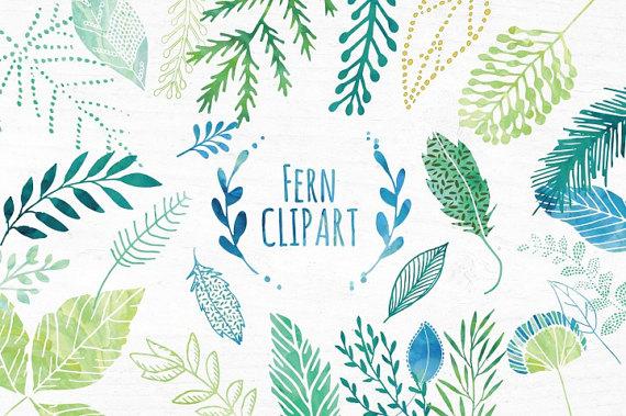 Watercolor Leaf Clipart set Watercolour Fern Clipart Clip.