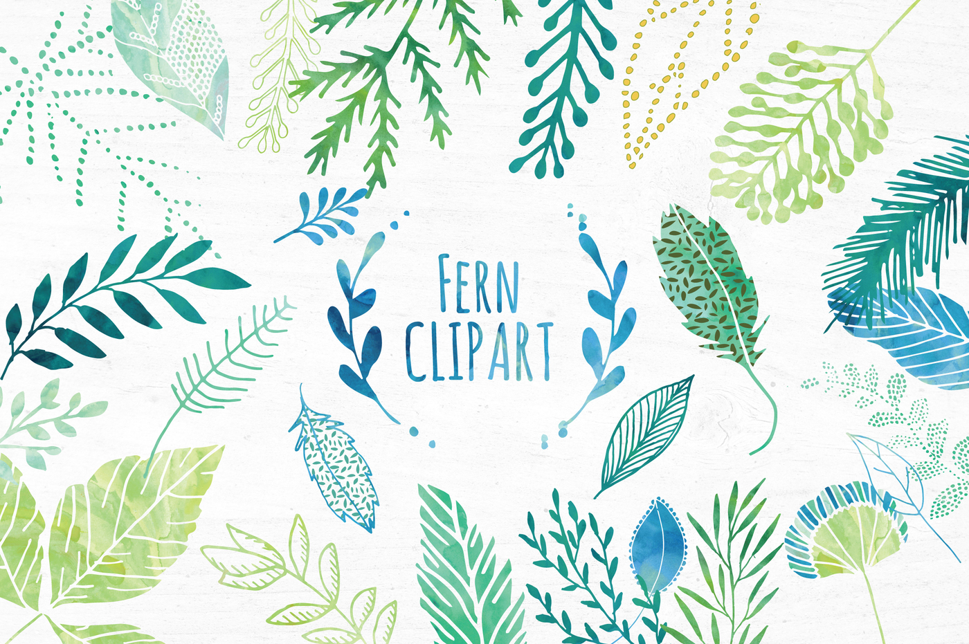 Green Watercolor Unique Fern and Leaf Clipart.
