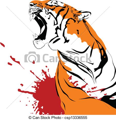 Clipart Vector of wounded tiger.