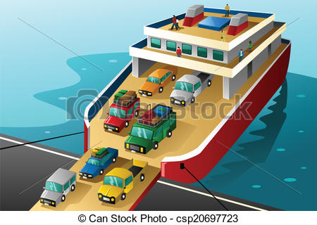Vector Illustration of Cars in vacation going into a big ferry.