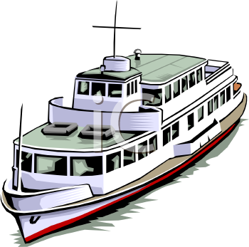 Clip Art of a Ferry Boat.