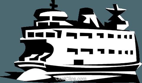Ferry boat Royalty Free Vector Clip Art illustration.