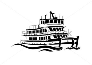 Ferry clipart black and white.