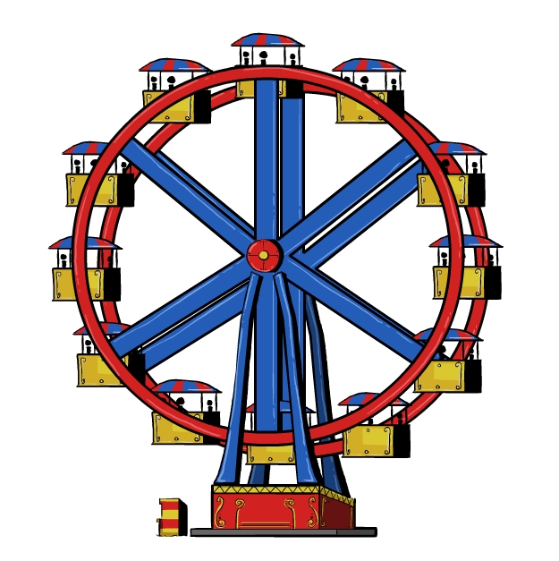 Cartoon ferris wheel clipart.