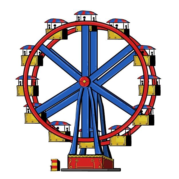 Cartoon ferris wheel clipart.