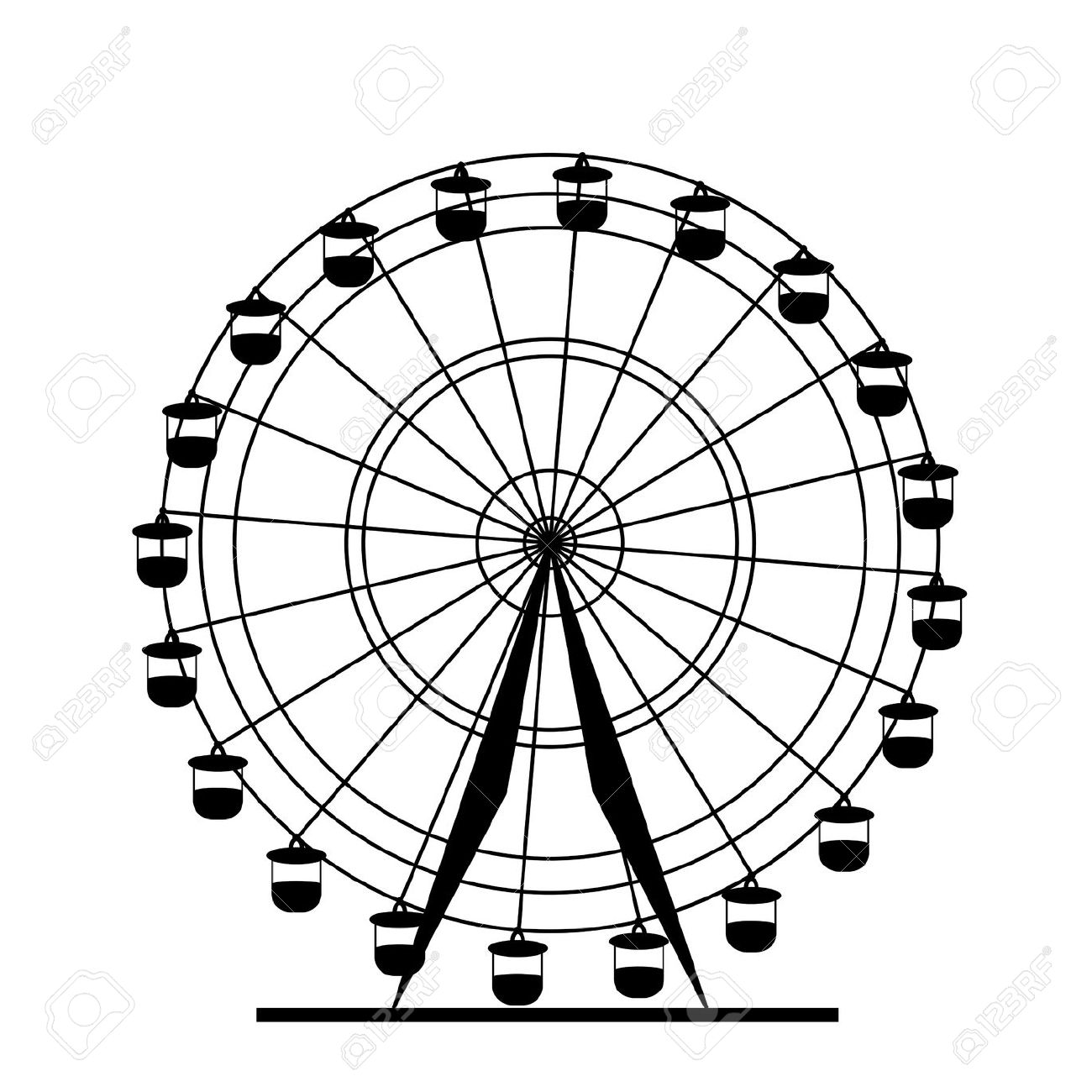 Ferris wheel clipart black and white.