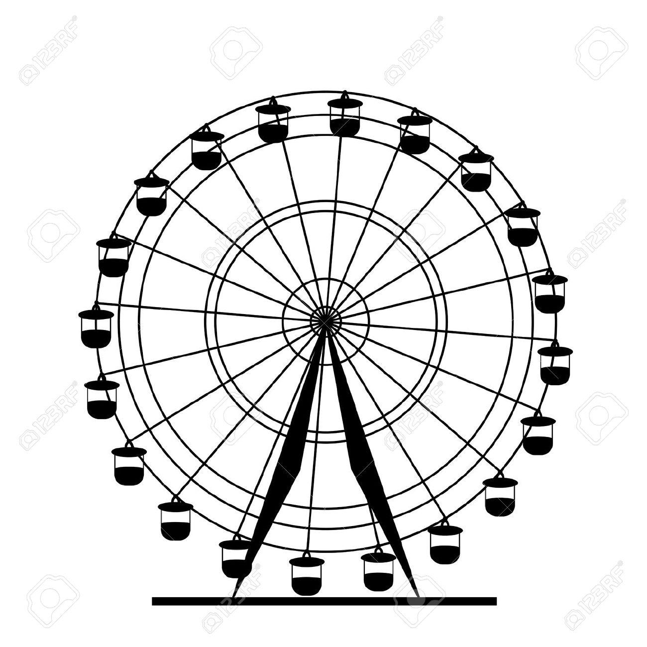 Ferris wheel clipart black and white.