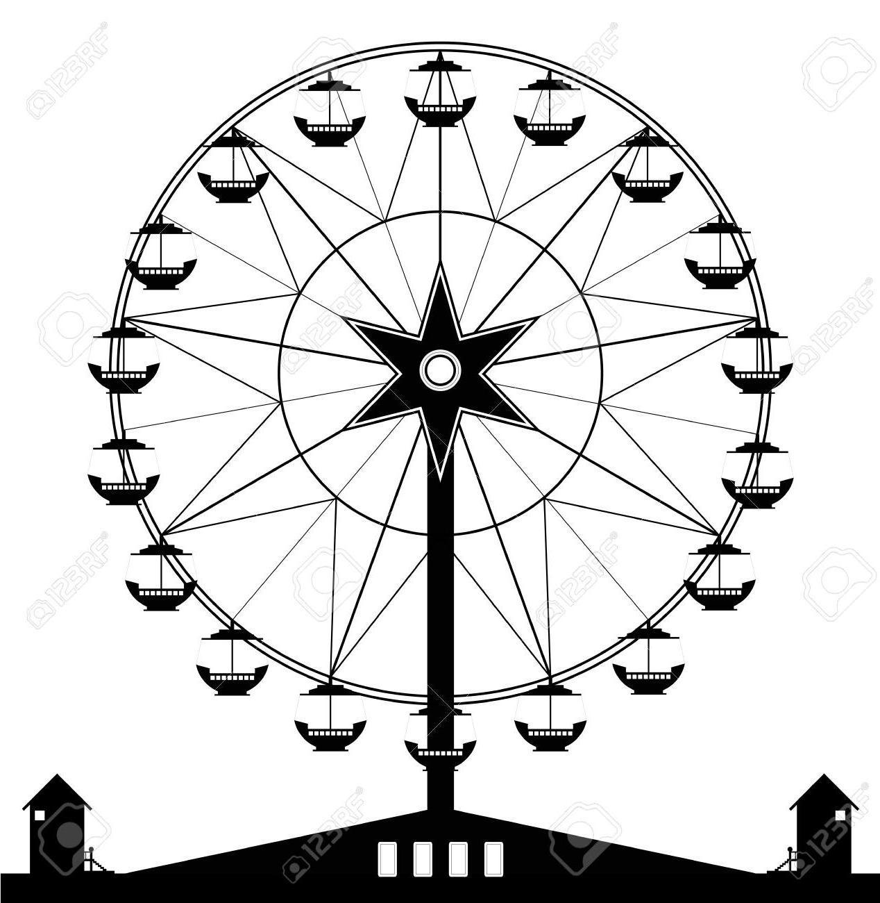 HD Ferris Wheel Black And White Clip Art File Free » Free.