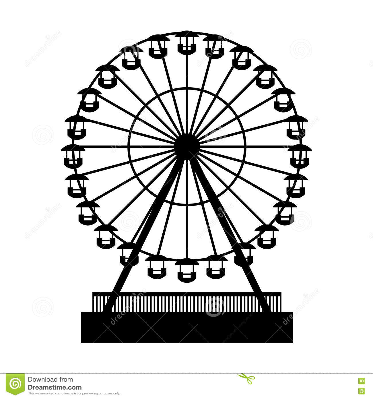 Ferris Wheel Vector Clipart.