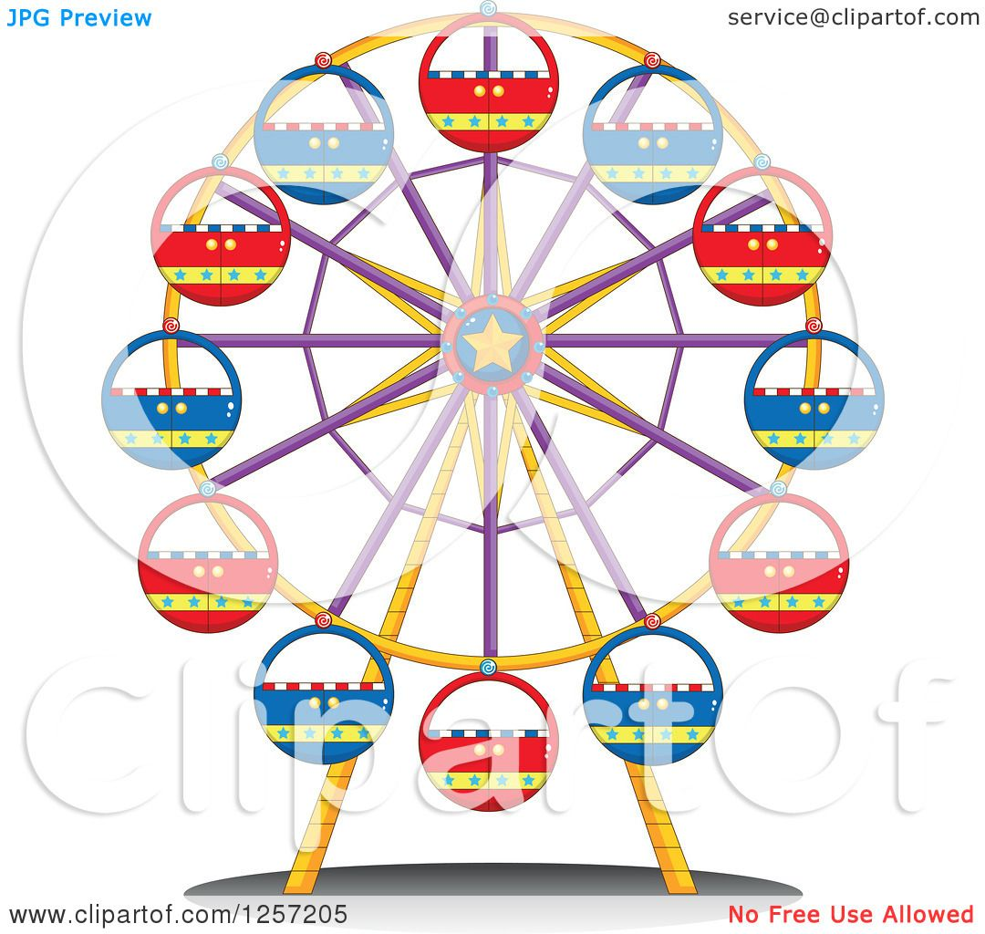 Clipart of a Carnival Ferris Wheel.