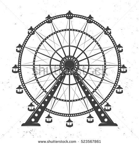 Ferris wheel vector monochrome illustration isolated on.