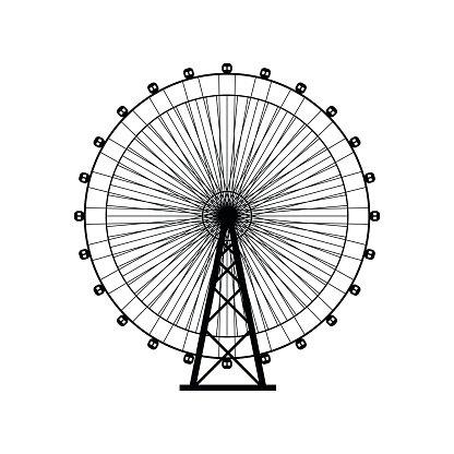 Ferris wheel silhouette, circle. Carnival. Funfair.