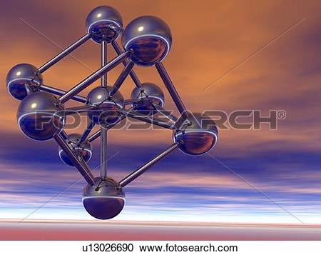 Stock Photography of Ferrite, molecular model. Ferrite, or alpha.