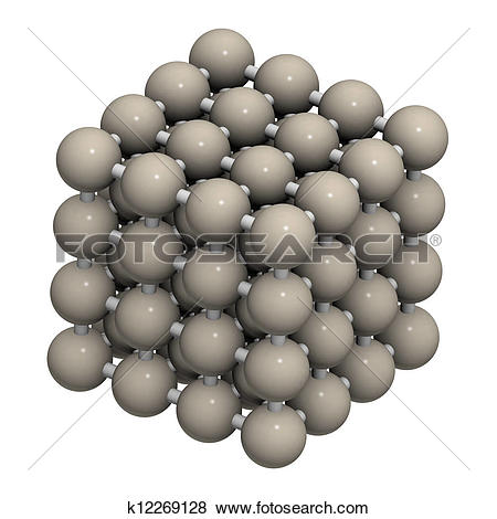 Pictures of Iron (Fe, ferrite) metal, crystal structure. k12269128.