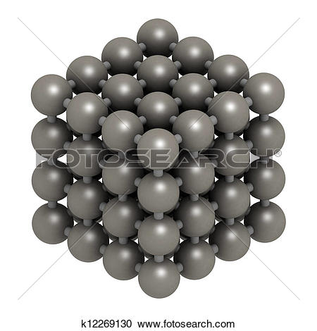 Stock Photography of Iron (Fe, ferrite) metal, crystal structure.