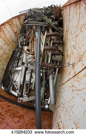 Stock Photo of container filled with ferrous material and old.