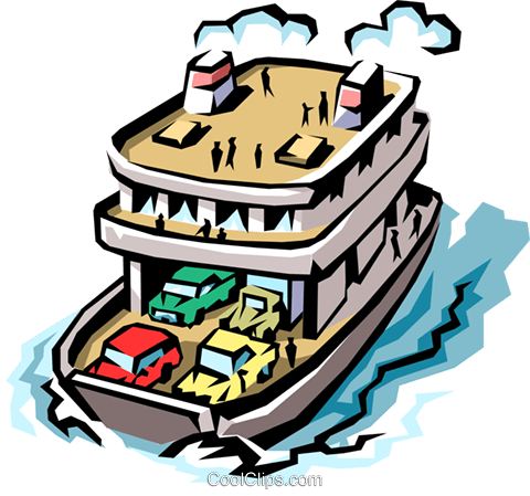 Ferryboat Royalty Free Vector Clip Art illustration.